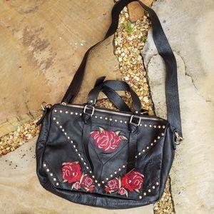 ZARA BLACK LEATHER ROSE EMBROIDERED SHOULDER BAG